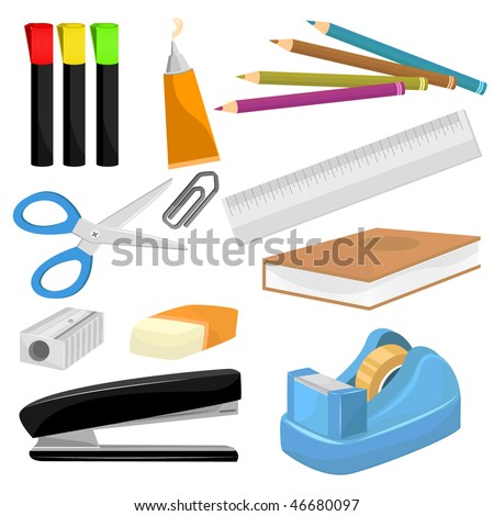 Set of Stationery and Education Vector Object Set. - stock vector