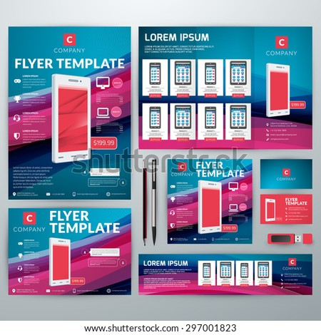 Set Stationery Design Templates Flyer Booklet Stock Vector 297001823