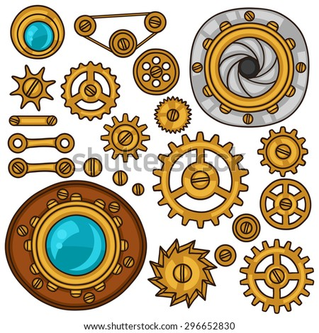 Set of steampunk gears, screws and cogwheels in doodle style. - stock vector