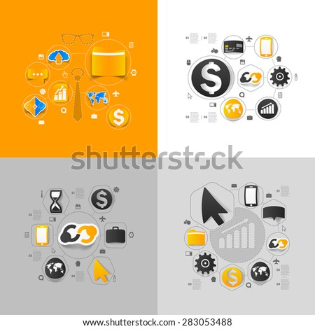 Set of sticker design. High-tech business concept - stock vector