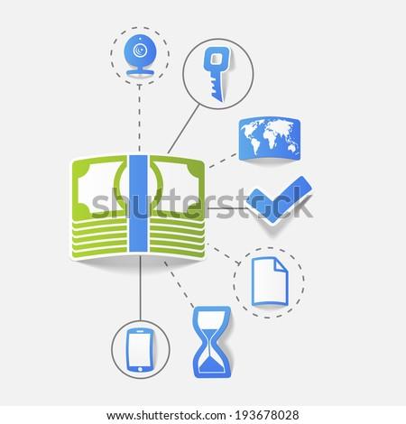 Set of sticker design. High-tech communication concept - stock vector