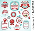 Set of stickers and badges for New Year and Christmas - stock photo