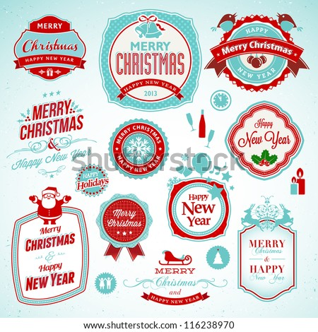 Set of stickers and badges for New Year and Christmas - stock vector