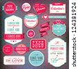 Set of stickers and badges for Valentine`s day - stock vector