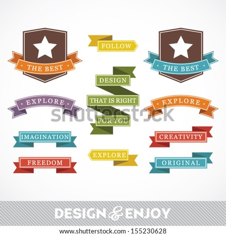 Set of stickers and ribbons, design concept, vector illustration - stock vector
