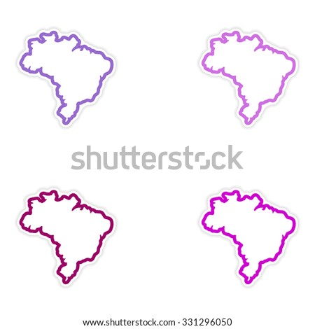 Set of stickers Brazilian map on white background - stock vector