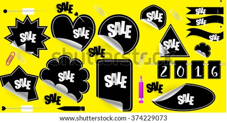 Set of stickers, elements and badges, vector illustration. Red Blank Sticky Paper, clamp ,clip, pencil, pin.