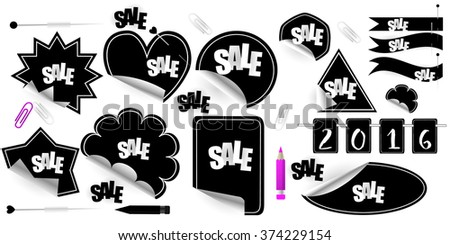 Set of stickers, elements and badges, vector illustration. Red Blank Sticky Paper, clamp ,clip, pencil, pin. - stock vector