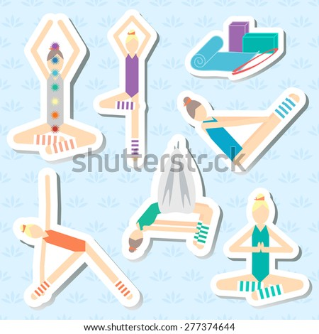 Set of stickers for yoga fitness aero yoga seamless pattern with a