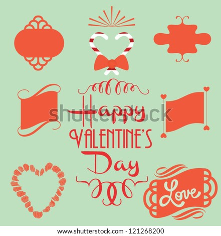 Set of  stickers, labels, tags. Valentine's Day. Ornaments. - stock vector