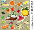Set of stickers mix of various fruits, with written background aged - stock vector