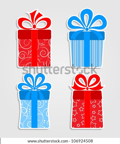 Set of stickers - red and blue  gift boxes - stock vector