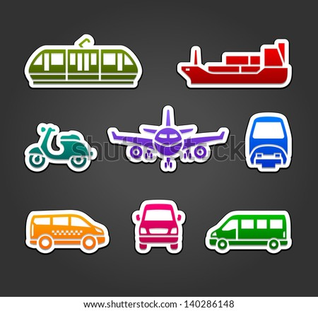 Set of stickers, transport color signs, vector illustration - stock vector