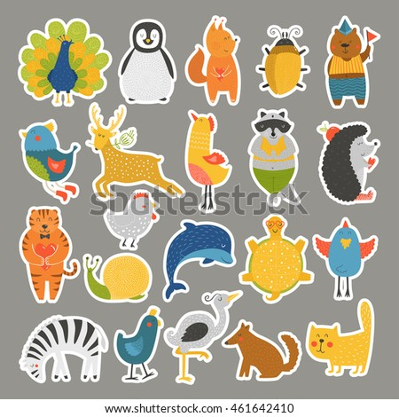 Set of stickers with baby animals. Vector Cat, peacock, penguin, beetle, bear, bird, deer, raccoon, hedgehog, dolphin, heron, tortoise, zebra, dog, snail