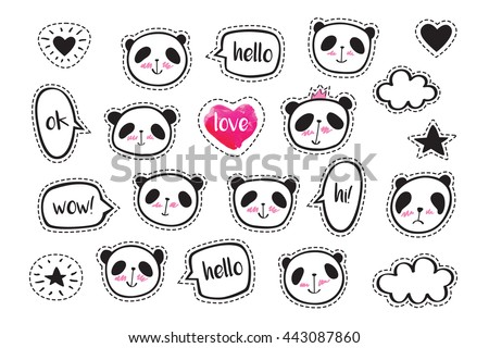 Set of stickers with cute pandas. Badges for clothing. Doodles, sketch for your design. Hand drawing. Vector. - stock vector