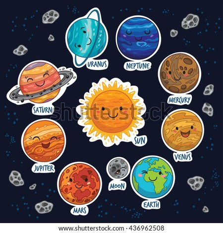 Set of stickers with cute smiling planets, stars and moon. Vector illustration