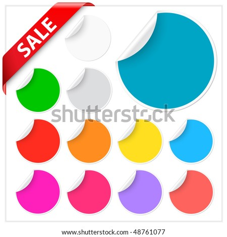Set of stickers with peeling corners with a red sale ribbon - stock vector