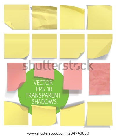 Set of sticky notes. Vector illustration with transparencies. Eps 10. - stock vector