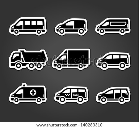 Set of sticky stickers, transport signs, vector illustration - stock vector