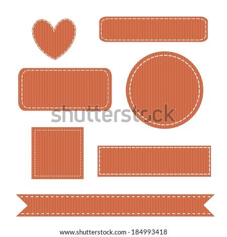 Set of Stitched Grosgrain Patches. Also see other sets. - stock vector