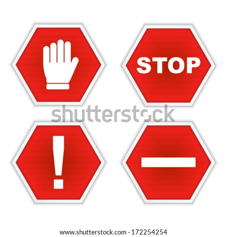 Set of stop signs, vector eps10 illustration - stock vector