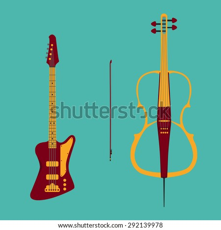 Set of string instruments. Electric cello with bow and bass guitar. Isolated musical instruments on teal background. Vector illustration in flat style design. - stock vector