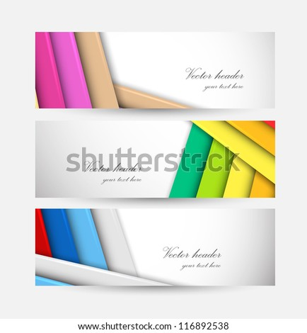 Set of striped banners - stock vector