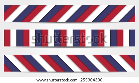 Set of 3 striped banners in blue, white and red - national colors of USA, France, Russian, United Kingdom, Czech Republic, etc. - stock vector
