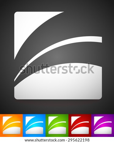Set of striped rounded squares in different colors. Squares with curved lines, colorful vector illustration. Generic icon, logotype. Easy to edit.