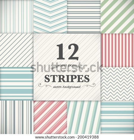 Set of 12 stripes and lines seamless vector texture backgrounds - stock vector