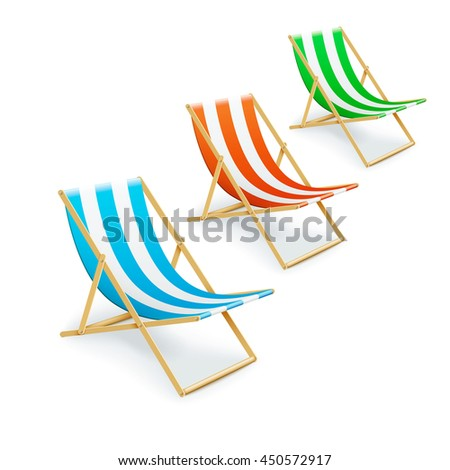 set of stripped deck-chairs beach inventory. isolated on white background. eps10 vector illustration