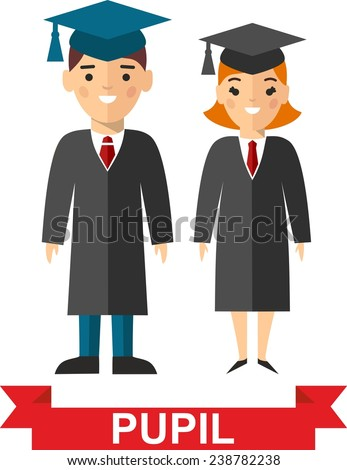 Set of students in graduation gown and mortarboard in background of education icons. Illustration of graduates with background of education icons  - stock vector