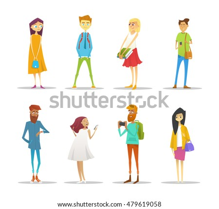 Set of students with gadgets and books. Cartoon style vector illustration.