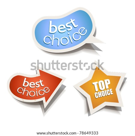 Set of Stylish bubbles stickers. Shadows are transparent - stock vector