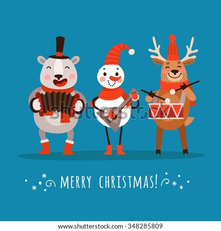 Set Stylish Christmas Characters Polar Bear Stock Vector 348285809 ...