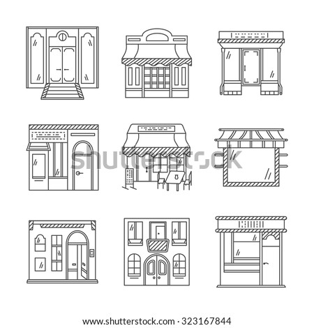 Set of stylish flat line design vector icons for commercial buildings facade. Showcase and storefronts. Elements of web design for business and site. - stock vector