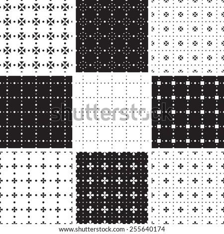 Set of stylish geometrical seamless ornaments - stock vector