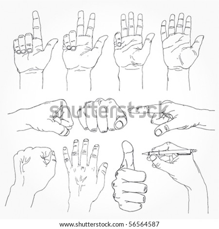 Set of Stylish Hand Drawn Hands Outline - stock vector