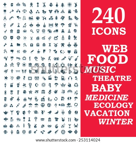 Set of 240 stylish icons : web, food, music, theater, baby, medicine, ecology, vacation, winter