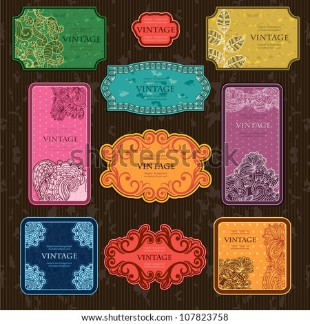 Set of stylish Retro Vintage Labels and Frames - stock vector