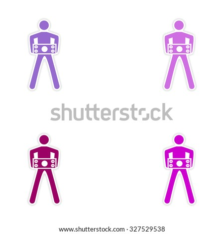Set of stylish sticker on paper man holding banknote  - stock vector