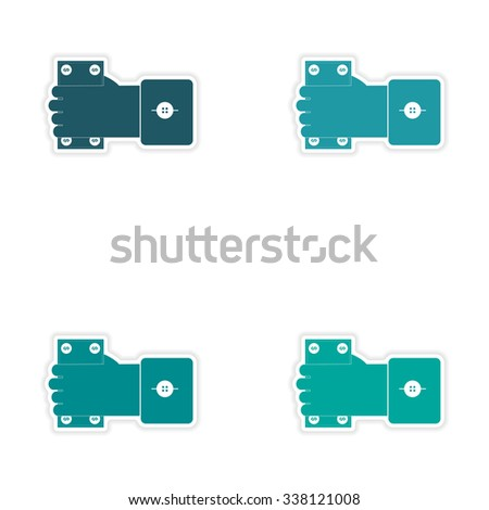 Set of stylish sticker on paper Money in hand  - stock vector