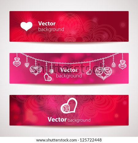 Set of stylish vector headers or banners with hearts. - stock vector