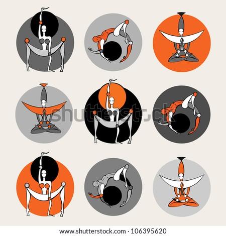 Set of stylish yoga people. Vector illustration. - stock vector