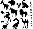 Набор стилизованных животных силуэты. животное,верблюд,кошка,корова...