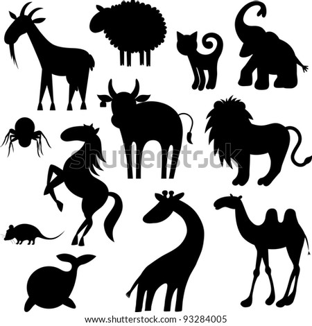 Set of stylized animals silhouettes - stock vector