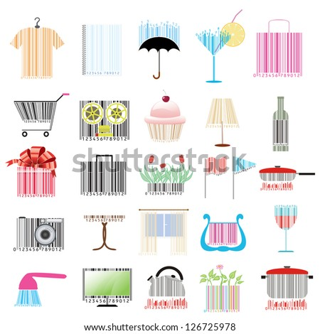 set of stylized bar-codes on various themes - stock vector