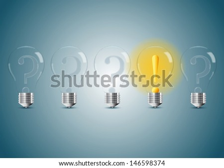 Set of stylized bulb lamps. Vector illustration - stock vector