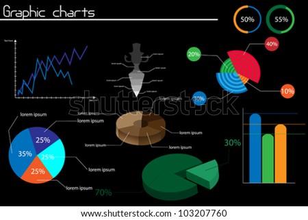 Set of stylized charts on black background - stock vector
