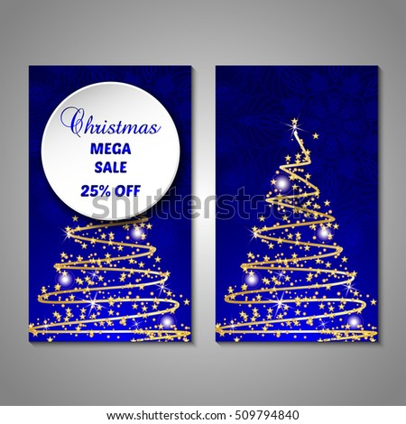 Set of stylized Christmas tree invitation, flyer, sale, discont card template. Merry Christmas decorative background.Use for internet sites, gift cards, flyers and presentations. Front and back page